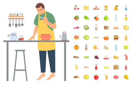 Pastime of man vector, isolated male wearing apron on pastime preparing food and dishes. Culinary art Cheese and cherry, apple and burger broccoli 向量圖像