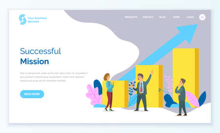 Path to a target s growth vector illustration banner. Achievement in business and motivation concept. Flat cartoon character design for web. People standing at the rectangular bars, webpage template