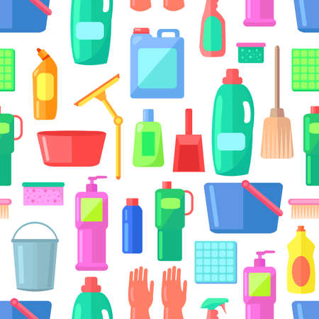 Group of bottles of household chemicals, supplies and cleaning, tools and containers for cleaning. Icons set of multicolored plastic flasks from chemical detergents, mops, buckets, basins, brushes