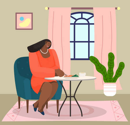 African american woman sitting on soft armchair at home at a table eating salad vector illustration. Female character having lunch in a restaurant or cafe. Spending time at home, household dinner