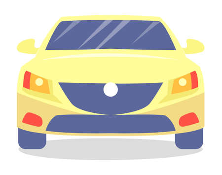 Yellow car vector template on white background. Business sedan isolated. Automobile front view flat style. Vehicle with tinted windows. Convenient mean of transportation, modern model of car