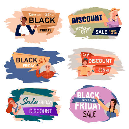 Set of big sale banners. Discount poster template. Big sale special offer. End of season special proposition banner vector flat style. Super sale best price and black friday advertising poster