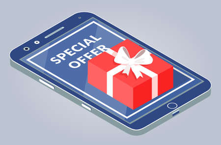 Sale poster, special offer banner internet shopping. Promotional offer in internet market giving a gift. Online shopping concept sale in the store. Gift red box with a bow stands on a smartphone
