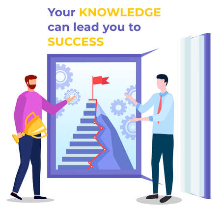 Your knowledge can lead you to success. Two men stand near opened book and show career ladder illustrated on textbook page. You receive reward by study and work. Vector illustration in flat style Stock Illustratie