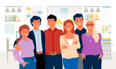 Man and woman workers standing together, portrait view of colleagues embracing, employees characters in office, team and workplace, corporate vector