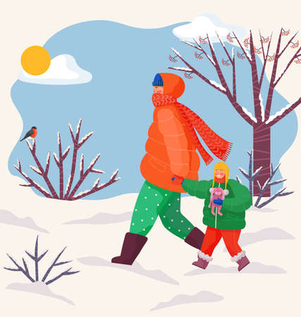 Dad and daughter are having fun outside in winter. Father is leading his child by the hand for a walk, while she holds a toy hare in her arms. Family walk in winter. Day walk during the cold season