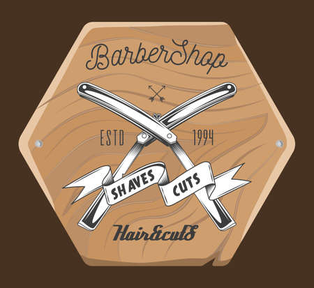 Barbershop salon wooden signboard with inscriptions, crossed razors and tape with lettering shaves cuts. Barber shop logotype, emblem with opened dangerous blade. Hairdresser advertising board