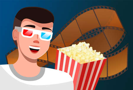 A man watches a movie with glasses for 3D films and says something. Cinema time vector illustration cartoon male character in magic glasses popcorn bucket and motion picture tape behind the viewer
