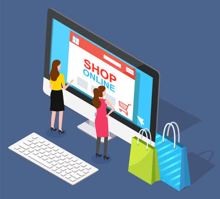 Women look at virtual shop on computer monitor. Two people buy products, make purchases through internet, online shopping. Customers with bags. Vector illustration of electronic commerce in flat style