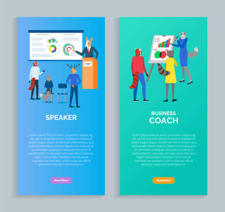 Speaker and business coach vector, cat showing charts on whiteboard and presenter in conference with listeners explaining notions and ideas. Website or webpage template, landing page flat style