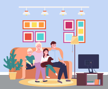 Family evening at the tv. Four member family together smiling sitting io the sofa in front of the televisor. Illustration of mother, father, sun, daughter and a dog sitting on the divan in the room