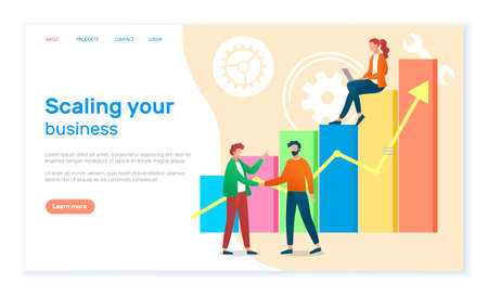Scaling your business landing page template. Success, achievement, motivation business banner. Group of specialists develops a growth plan concept with businesswoman on graph columns and up arrow