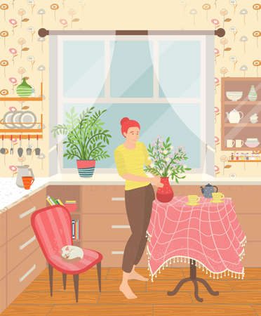 Sweet home, apartment interior of room. Woman serving table with vase filled flowers. Window with curtains, table with tablecloth, house plants decoration of house. Vector in flat cartoon style