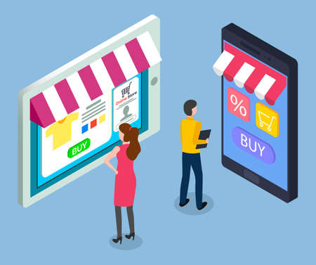 On line store concept. Sale tablet and smart phone with awning. Mobile marketing and online shopping. Man and woman customers choose a product in electronic gadget application on virtual store screen 向量圖像
