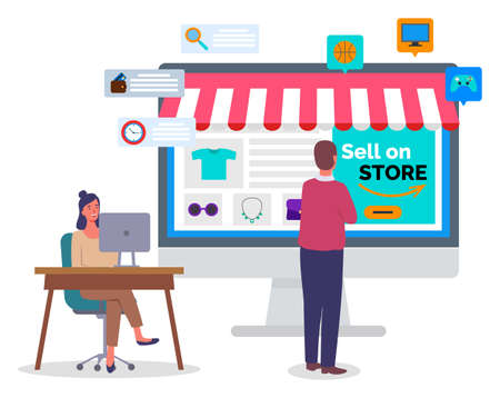 Online shopping concept on computer desk vector flat illustration. People buyer and manager in office. Woman marketer compiles a store page on the Internet. A man selects a product on the site page