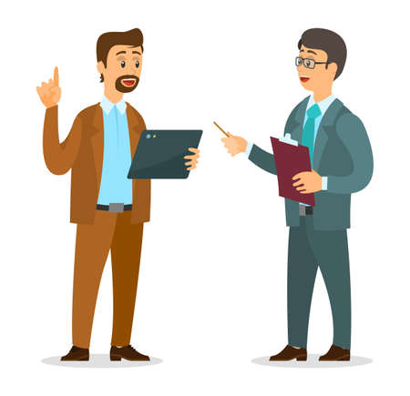 Businessmen dressed in formal clothes are standing with folders and clipboards in their hands and talking. Office workers discussing matters. Business meeting and consideration of working issues Stock Illustratie