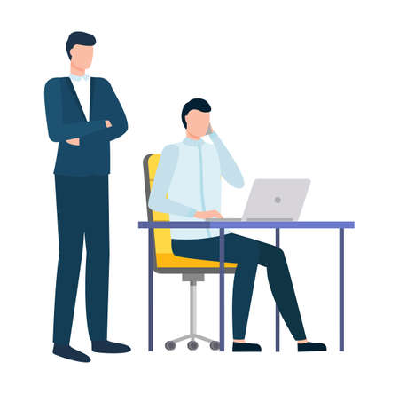 Supervisor and worker vector, man working on laptop, employer and employee flat style. Person talking on phone at working place. Developer at work