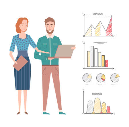 Statistics and information vector, man and woman working on business project, infocharts and infographics, growing rates and results, laptop data