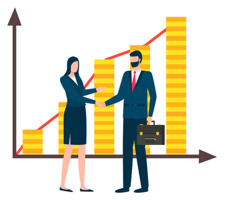 Managers handshake vector, man and woman agreeing on contract. Company development and successful growth. Financial stability and achievements charts Stock Illustratie