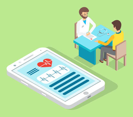 Patient came to medical clinic for consultation with doctor. Medical treatment and healthcare poster, modern clinical analysis and treatment, diagnostic tests. Clinic appointment meeting with doctor