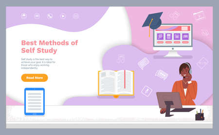 Self study concept banner. Distance online learning with teacher. Girl using a computer and headphones for distance education. Website template. Way to study when you like to work independently Stock Illustratie
