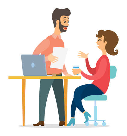 Office workers characters discussing matters. Surprised open-eyed man and woman talking communication, famale sitting at office desk with laptop. Business meeting and consideration of working issues