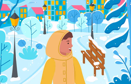 Female character wearing warm clothes and relaxing in winter city park with lanterns and benches. Townscape with buildings and skyscrapers. Young lady on vacation in cold season vector in flat