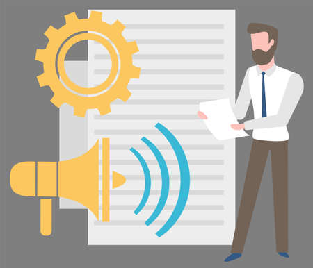 Bearded man making report, blank sheet of paper, gear cogwheel and loudspeaker. Vector business education concept, financial issues and ideas, employer at conference