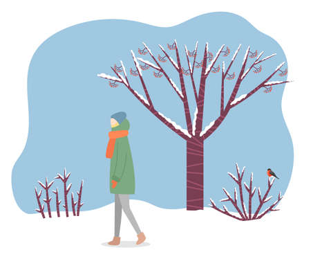 Lady stand in snowy forest alone. Woman walking through wood or lawn in warm clothes like hat, coat and scarf. Beautiful landscape with tree, shrubs and bird. Vector illustration in flat style