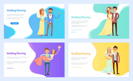 Wedding planning webpage, information site help newlyweds in organizing a wedding event landing page template. Bride and groom wearing party wear for celebration of special day. Lady holding bouquet 向量圖像