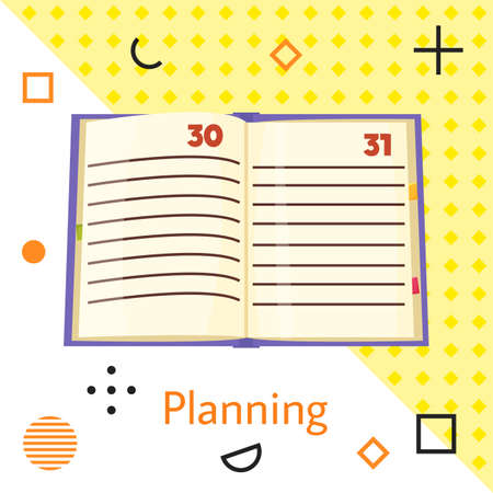 Planning flat vector illustration with open notebook with calendar numbers and blank lines. Time management and work day planning. Timetable, diary with clear pages. Business control with scheduling