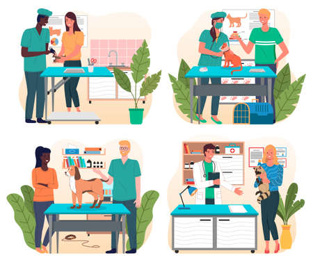 Set of illustrations on veterinary theme. Veterinarian s office with surgical or examination table. Treat pets. Consultation with vets. Medical manipulations. Veterinarian and veterinary Nurse