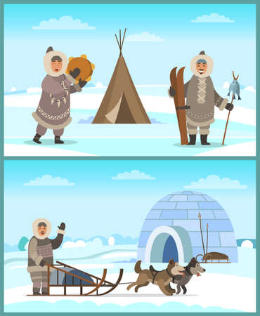Arctic people in fur clothes near igloo and tent on snowy landscape. Happy eskimo man and woman holding timbrel instrument, sleigh with husky, skis and spear. Male and female living in Alaska vector