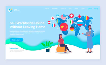 Landing page of online shopping site. Slogan Sell worldwide online without leaving home. Woman sitting on yellow pouf, pot plant. Girl manager in blue long dress with notebook. Big blue world map