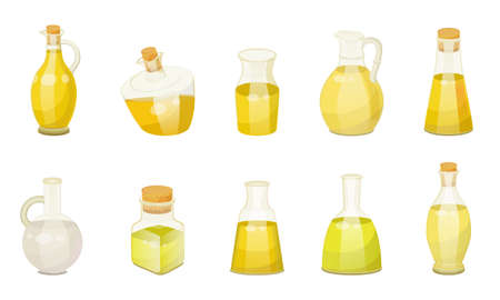 Collection of glass bottles with oils or essences for hair and skin treatment. Set of isolated containers for wellness and beauty of female body. Organic and natural ingredients, vector in flat
