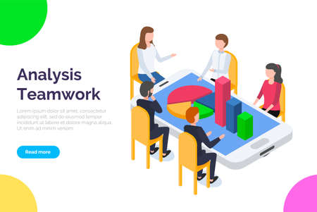 Analysis teamwork landing page template. A team of analysts holds a meeting and develops a marketing strategy based on an analysis of the financial performance, diagrams of the enterprise vector style