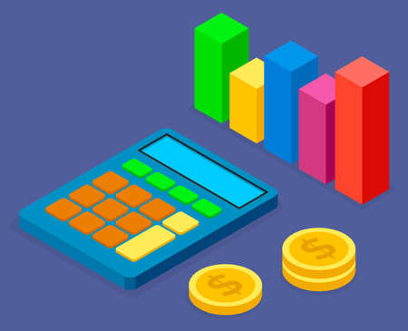 Cartoon calculator with big buttons, drain of cent coins or dollars, symbolic image of colorful bar chart. Count money, accumulation means, wealth. Shopping, trade relations, world trade. E-commerce