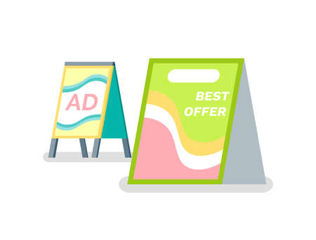 Ad canvas, design of template reclaiming placard, vertical view of advertising panel. Public promotion info, broadsheet best offer, flat poster vector 矢量图像