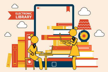 The library in the e-book. Online library education, files knowledge concept. Stack of books on tablet screen. Girls with laptops in books store reading electronic book, distance digital learning Vettoriali
