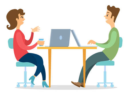 Office workers characters discussing matters, consult. Business people man and woman talking communication, sitting at office desk with laptops. Business meeting and consideration of working issues