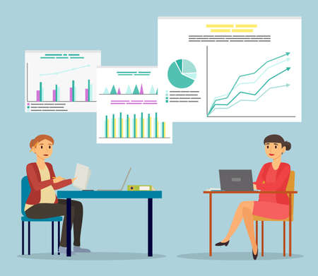 Two pregnant women sit by table at office. Future mothers working on laptop and with papers. Businesswomen on workplace in parlor. Diagrams and infographics on board. Vector illustration in flat style