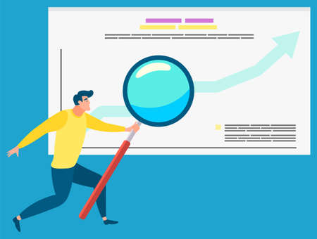 Man analyzing data vector, businessman with magnifying glass and information on board. Success on growing chart, male with tool for business analysis and stats