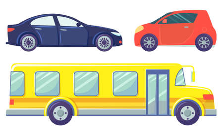 Three cars isolated on white background. Yellow large bus and small red microcar. Dark blue colored sedan. Auto to drive and get your destination quickly. Vector illustration in flat style, cartoon