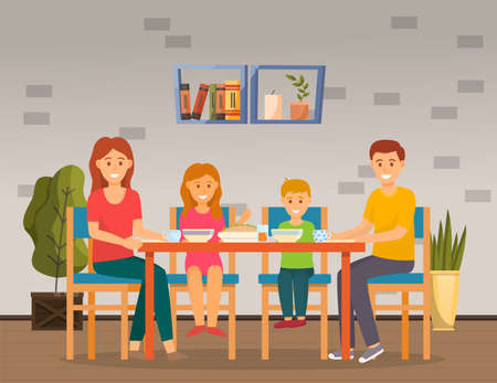Family sits in dining room and has lunch or breakfast. Smiling mom, dad, son and daughter. Plates on the table, potted plants, shelf on the wall. Modern happy family at home. Meal time. Flat image 向量圖像