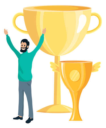 Golden cup winner, cheerfull businessman enjoying success, happy man winning reward, successfull worker and trophy.Man holding his hands up isolated on white