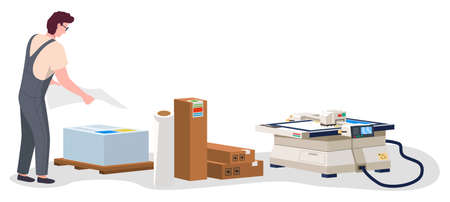 Man working in typography at print to printer. employee character, electronic photocopier device, paint service. Vector illustration print house worker stacks printed sheets of paper isolated on white