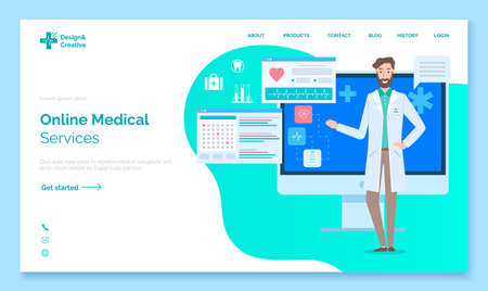 Landing medical site page. Online medical services. Doctor on the background of a computer monitor with graphs and reports. Symbol of first aid. Flasks, test tubes, cardiogram. Flat illustration