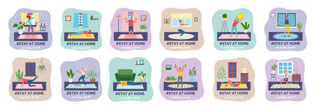 Set of stay home activities. Play different kind of sports. Fitness, sport, athletics, training. I stay at home awareness social media campaign and coronavirus prevention. Flat image illustration