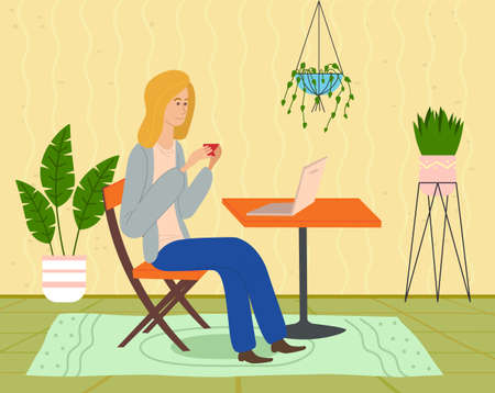 Young blonde girl is sitting on a chair at a table with a laptop, with a red cup and surfing the internet. Watch the video online. Cozy home interior, hanging flower, green rug. Flat vector image Иллюстрация
