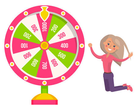 Game fortune wheel. Girl playing risk game with fortune wheel and lottery. Casino and gambling. Illustration of casino fortune, wheel winner game. Woman won, joyfully raised her hands up and jump 矢量图像